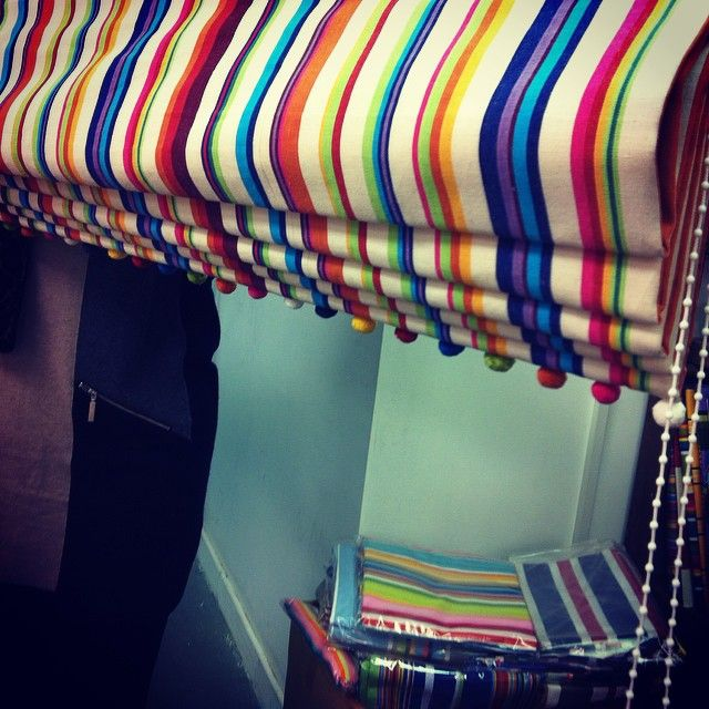 Roman Blind made to measure with Bobble Pom Pom Trim by request...Exclusive striped fabric and blind service by http://www.thestripescompany.com/shop/Roman-Blinds