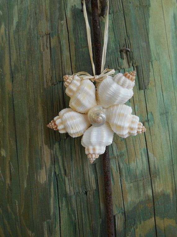 Seashell Christmas Ornament- Coastal Living style, Florida, Beach Christmas, Seashell flower ornament, Shell ornament - by MamaStowes on Etsy 2014
