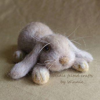 Needle felted Floppy ears bunny by FunFeltByWinnie on Etsy