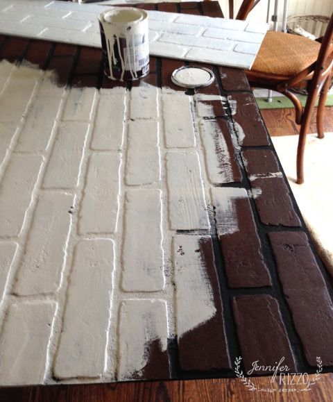 painting faux brick for a faux fireplace insert