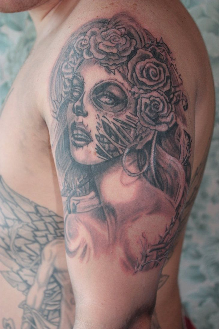 Vampire Girl Tattoos Half Sleeve Clown Girl Tattoo For Men