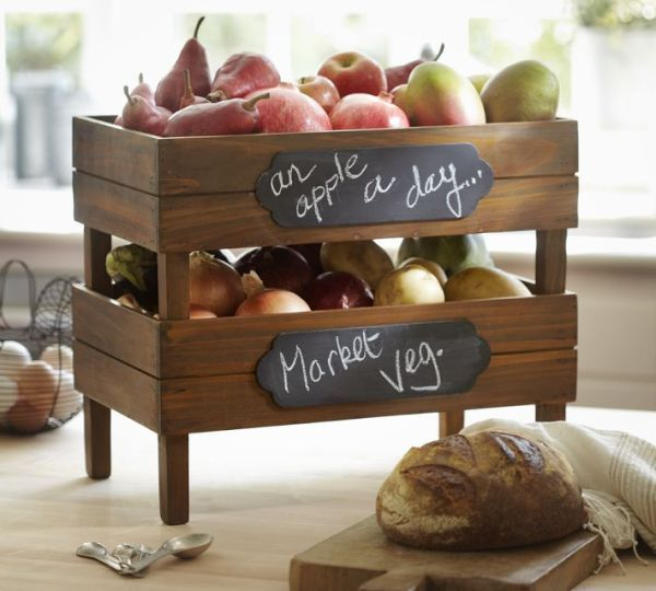 Stackable produce (fruits, tomato, potato, garlic, and onion) wooden crates. Make with sturdy mesh bottom for air circulation.