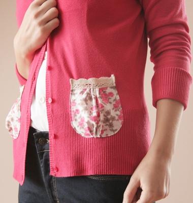 DIY Embellished Pocket on cardigan.