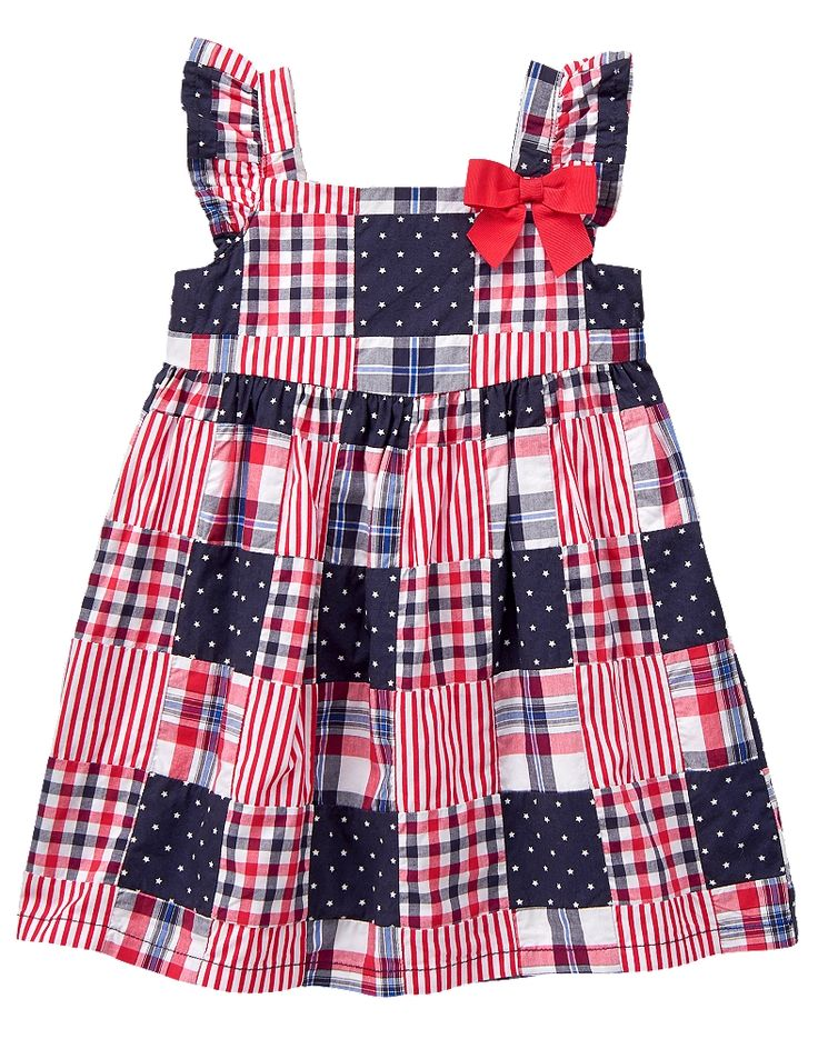 Gymboree Toddler Girl Red White & Cute Patchwork Dress