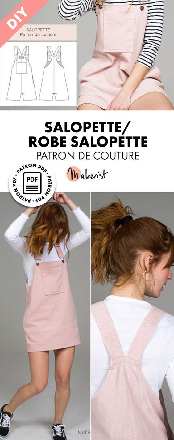 Patron de couture femme et fille – SALOPETTE / ROBE SALOPETTE- T36-42 Perfect for spring and summer, the Salopette allows you to be free
