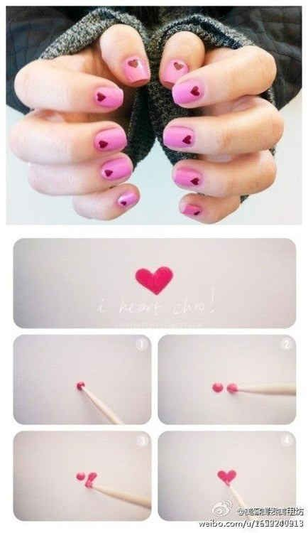 Try a toothpick to make small and sweet nail art…