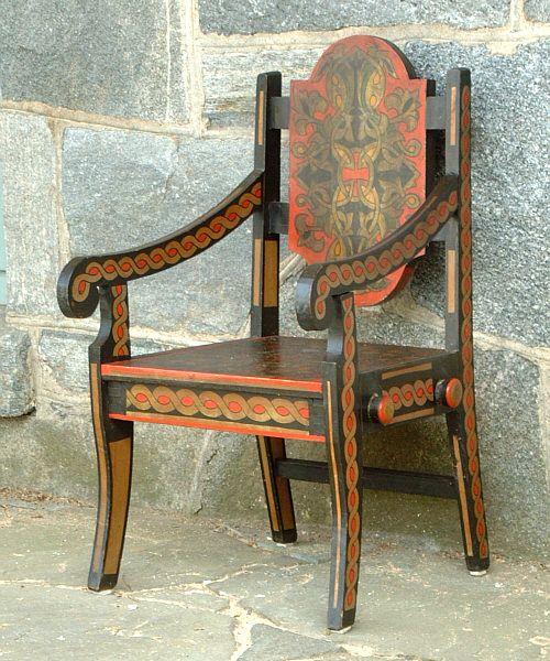 Russian Folk Art Hand Painted Childrens Chair
