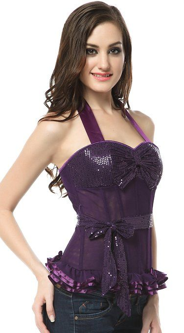 Ivy Shi Women's Breathable Mesh Corset Top Purple Large