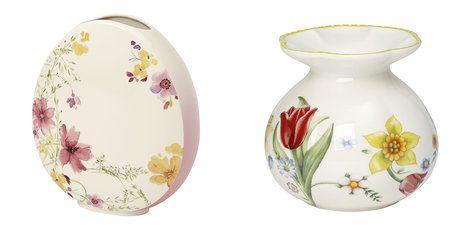 Porcelánové vázy Villeroy & Boch, na foto (zleva): z kolekce Mariefleur Spring, výška 19 cm, cena 1200 Kč, z kolekce Spring Awakening, výška 10,5 cm, cena 600 Kč; Luxury table