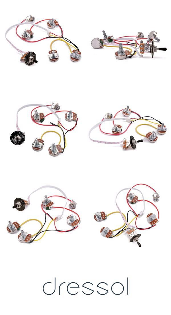 LP Electric Guitar Wiring Harness Kit 3 Way Toggle Switch 2 ... on