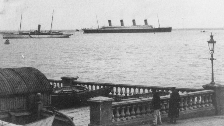 The Titanic passing the Isle of Wright on its maiden voyage, April 10, 1912.