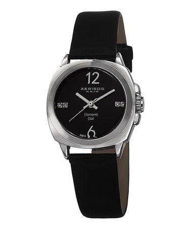 Loving this Black & Silvertone Diamond Watch on #zulily! #zulilyfinds