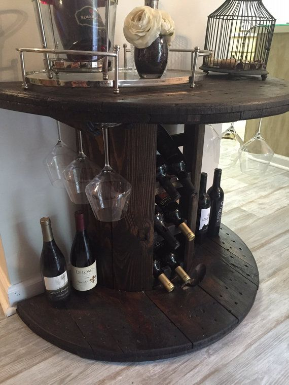 Reclaimed Wooden Cable Spool Wine Bar + Wine Rack, Rustic Furniture, Industrial…