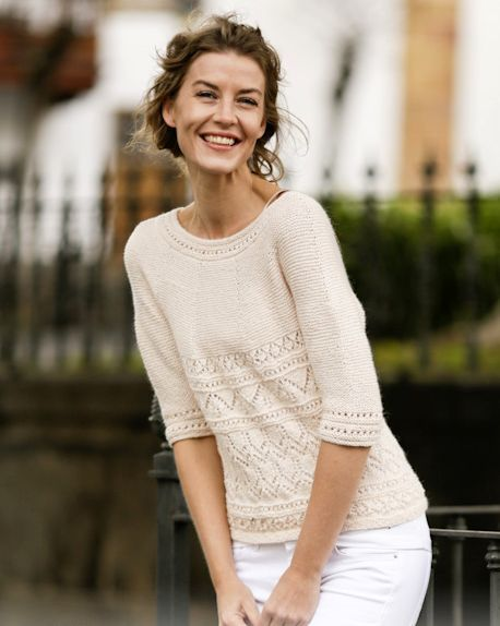 A feminine sweater, with a mix of models eyelet on the bottom edge. Size: S - M - L - XL - XXL - XXXL materials: 6-7-8-8-9-10 DROPS BABY ALPACA yarn Hanks SILK (70% alpaca, 20% silk, 50 g/167 m); Circular knitting needles nr. 2,5 and no. 3; Knitwear density: 24 stitches x 32 rows = 10 x 10 cm; Knitting explanation: The sweater will knit from top to bottom, circular. The beginning of a circular row corresponds to the middle of the back part. Added stitches is done using yarn over. In...
