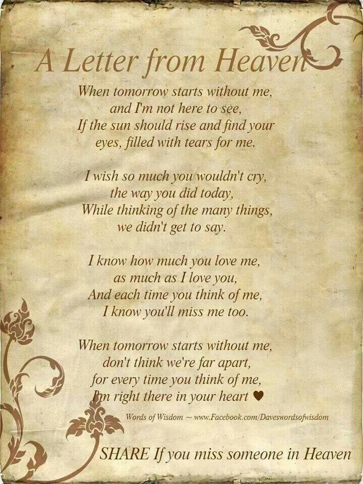 letter about missing someone missing someone in heaven and loss 19380 | 1060f62baa279d4565c53ae3efae082c