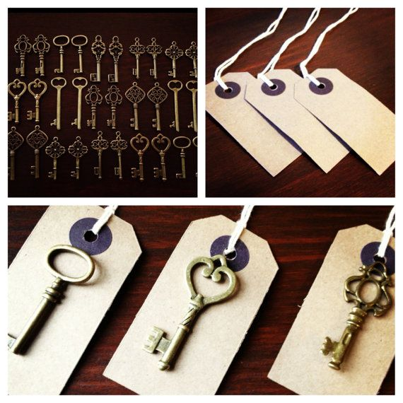 Keys of Wedlock - Skeleton Key Wedding Favors 100 Antique Bronze Skeleton Keys & 100 Kraft Tags - Wedding Skeleton Keys, Escort Card Keys