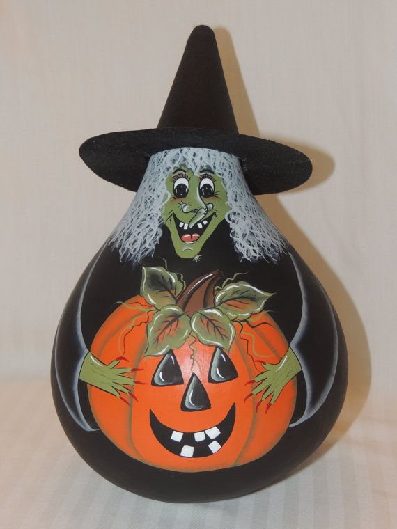 Decorative Hand Painted Witch Halloween Gourd by BamaLadyCrafts