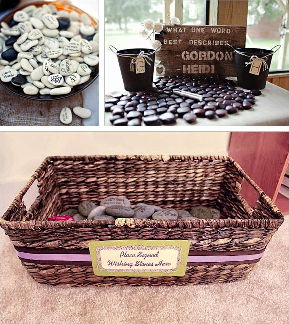 LOVE THIS IDEA TRADITION:   In this Irish wedding tradition, guests write their best wishes on smooth stones. Put together a wedding guest book table with plenty of pebbles and a glass vase filled up with water. After the guest signs a stone with a permanent marker, they can put the stone inside the vase. This represent and bring back the tradition of throwing stones into a river or pool.