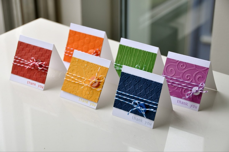 handmade notecard set from Court's Crafts: Core'dinations Rainbow Set ... like the use of a different embossing folder for each one ...