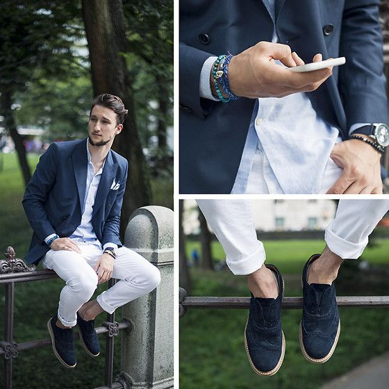 Navy Linen Blazer White Jeans And Blue Suede Wingtips W/ No Laces. Menu0026#39;s Spring Summer Fashion ...
