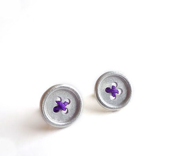 Sterling Silver Button Earrings  Sewing by Maria Apostolou