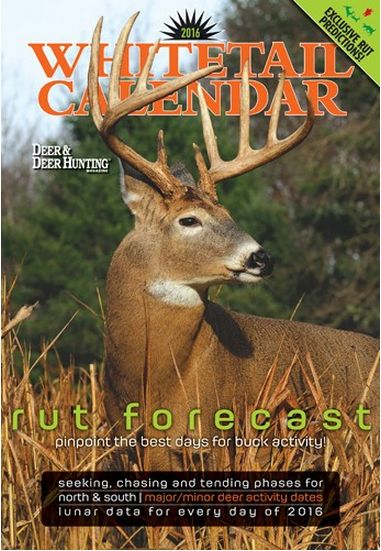 "From Deer & Deer Hunting Magazine, the 2016 Whitetails Wall Calendar features the work of deer researchers Wayne Laroche and Charlie Alsheimer, who reveal the 2016 whitetail rut prediction, based on years of lunar cycle research. Utilize this deer moon phase calendar to find out which days the deer will be seeking and chasing so you can time the rut for the best time to hunt. ""The DDH wall calendar …"