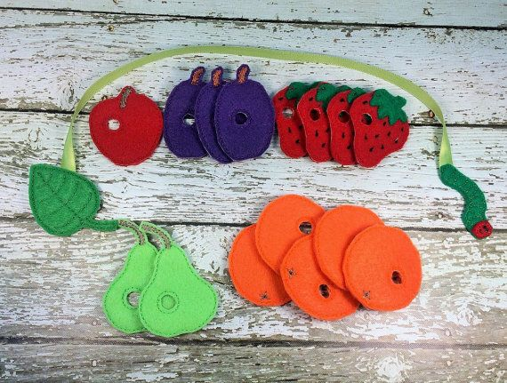 Mini Very Hungry Caterpillar Inspired Lacing activity for toddlers and little kids - how cute is this?