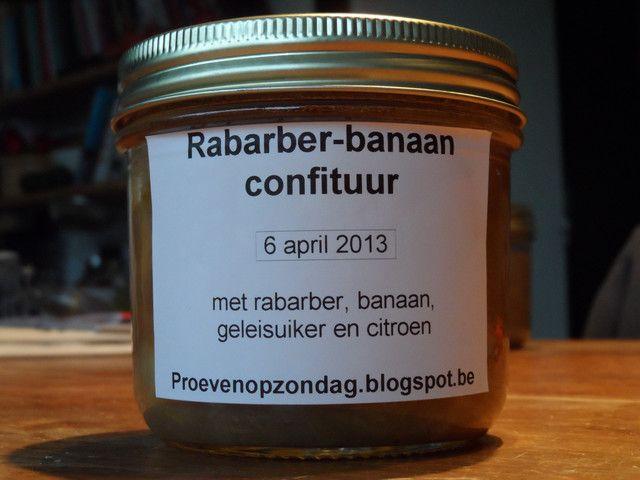 Confituur van rabarber en banaan, eetbaar cadeautje