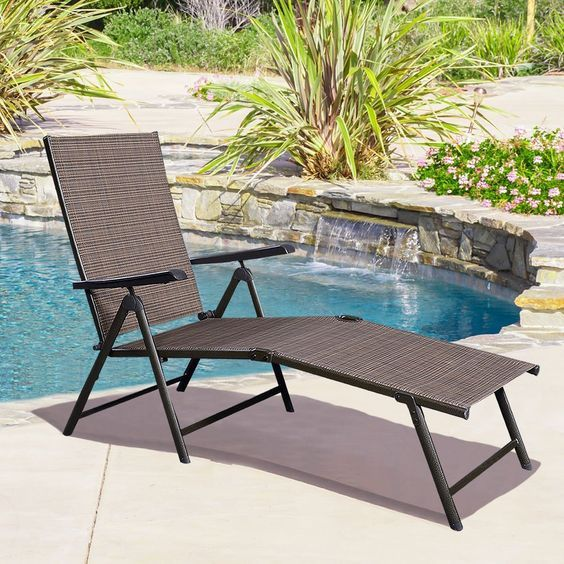 Adjustable Pool Chaise Lounge Chair Recliner Outdoor Patio Furniture