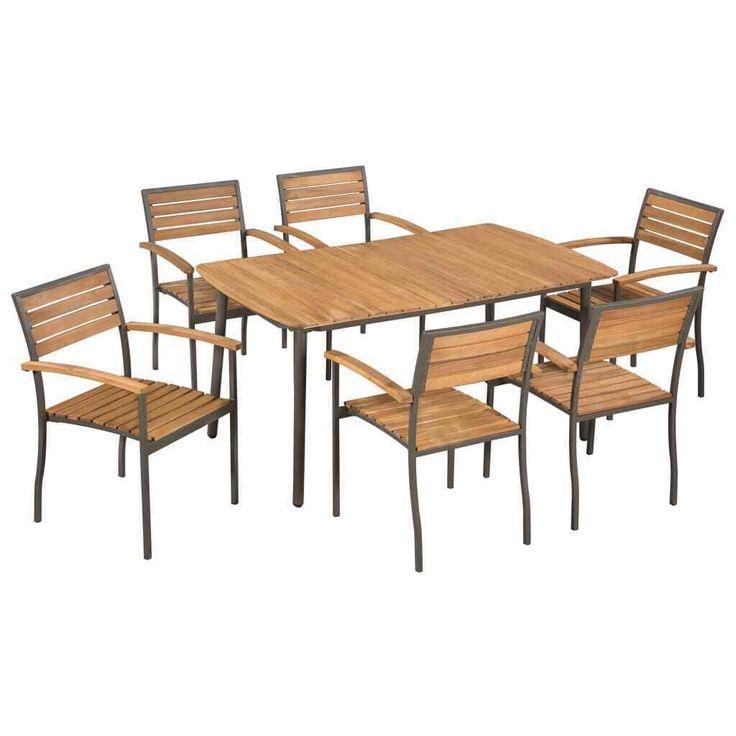 vidaXL Gartenmöbel 7-tlg. Akazienholz Massivstahl Sitzgruppe Gartenmöbel – …   – Gartenmöbel