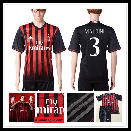Maglia Calcio 2016 2017 AC Milan 3 MALDINI Casa Prima Divisa