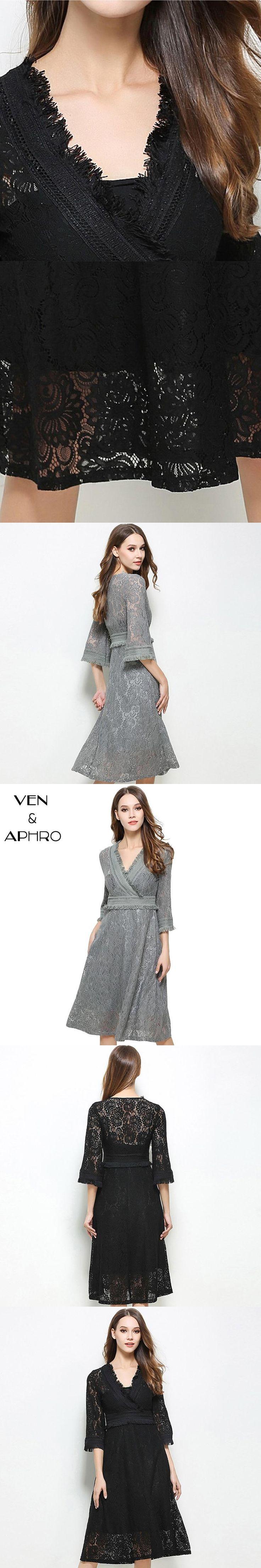 VA Lace Dress Women Autumn Winter vestidos Party Dresses Perspective Long Slim V Neck Dresses Vintage Dress Grey Black W00923
