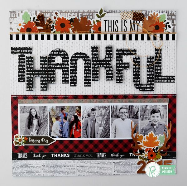 "Thanksgiving layout by @wendysue with the ""Warm & Cozy"" collection by @PebblesInc"