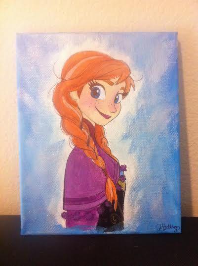 Disney's Frozen Princess Anna acrylic painting on 8x10 canvas