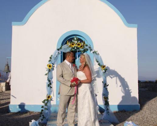 St Stefanos Island wedding Kos, traditional chapel in an island setting with beach bbq reception