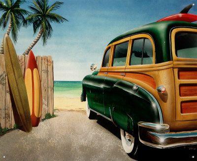 Retro Auto Beach Woody Placa de lata na AllPosters.com.br                                                                                                                                                                                 Mais