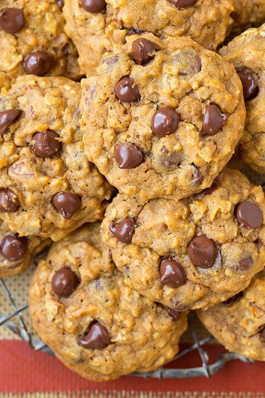 Pumpkin Oat Chocolate Chip Cookies   Cooking Classy