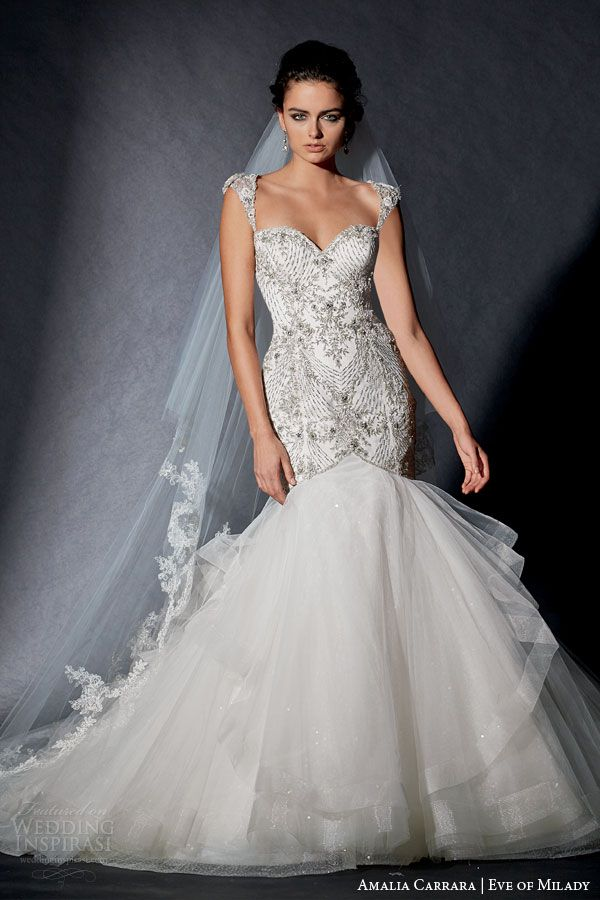amalia carrara eve of milady 2015 #wedding dress cap sleeve mermaid gown intricate embellished bodice #bridal #weddingdress