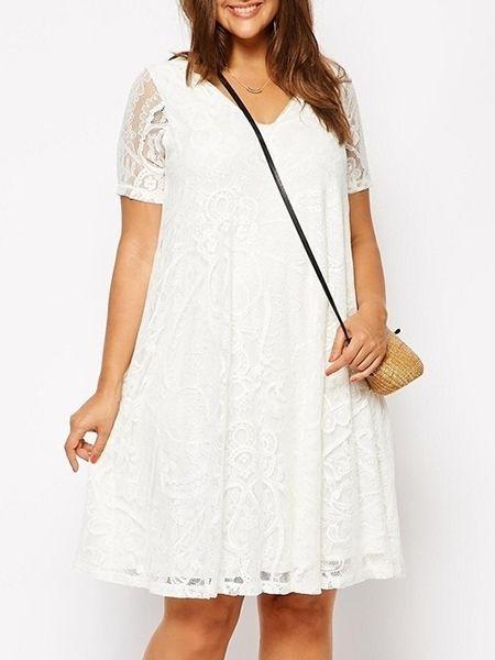 Loose Fitting Lace Plain Plus Size Shift Dress Plus Size Shift Dresses from fashionmia.com