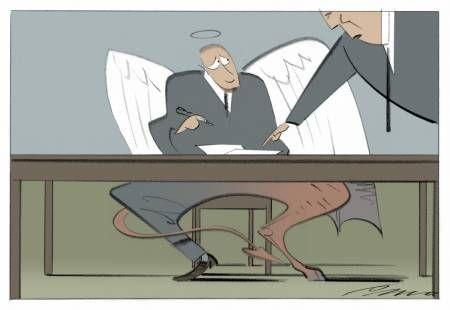 Rubrik: Bank under bordet Billedtekst: Med en finanssektor fra helvede kan man kun ønske EU held og lykke med bankunionen. Kreditering: Tegning: Per Marquard Otzen Foto: MARQUARD OTZEN PER