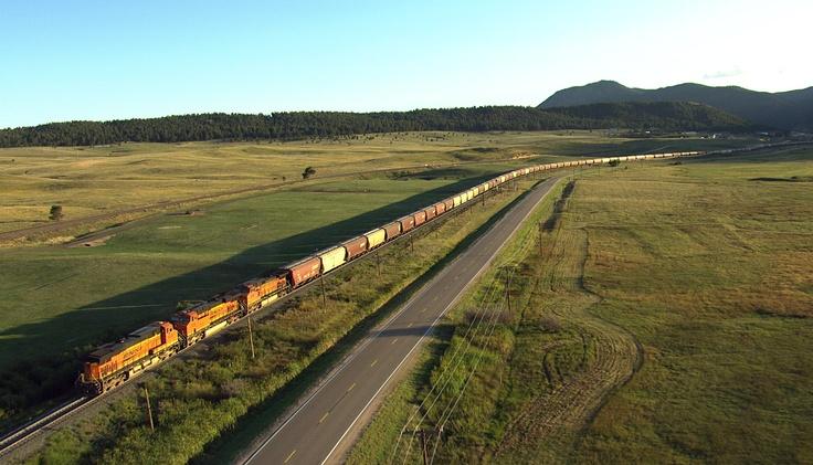Aerial photo of train rolling through Douglas County, Colorado. [From: Aerial America: Colorado]