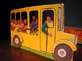 Cardboard House Prop | Our Cardboard bus got the peanuts to school in style