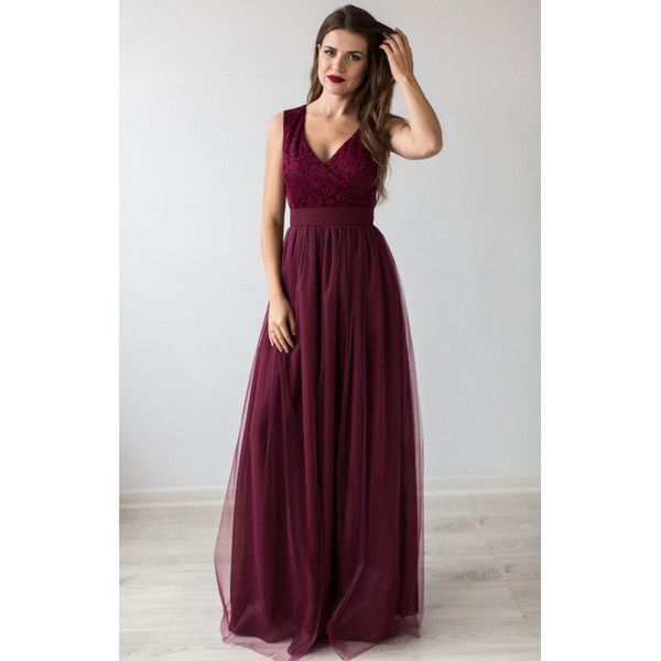 Formal Prom Dress Burgundy.Bridesmaid Dress Cocktail.Floor Length... ($100) ❤ liked on Polyvore featuring dresses, gowns, cocktail dresses, evening dresses, burgundy prom dresses, formal evening dresses and floor length evening dresses