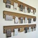Houten planken voor kaarten. #kaartenhouder.                              Leuk en makkelijk DIY project