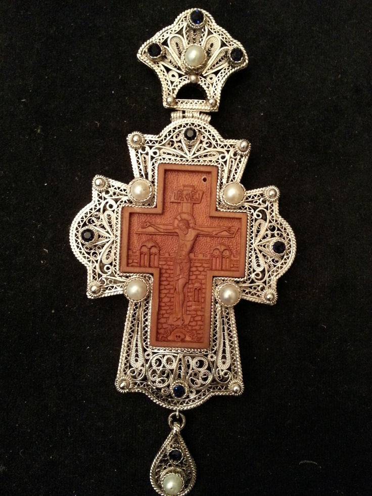 Silver filigree pectoral cross with miniature wood carving of the Crucifixion
