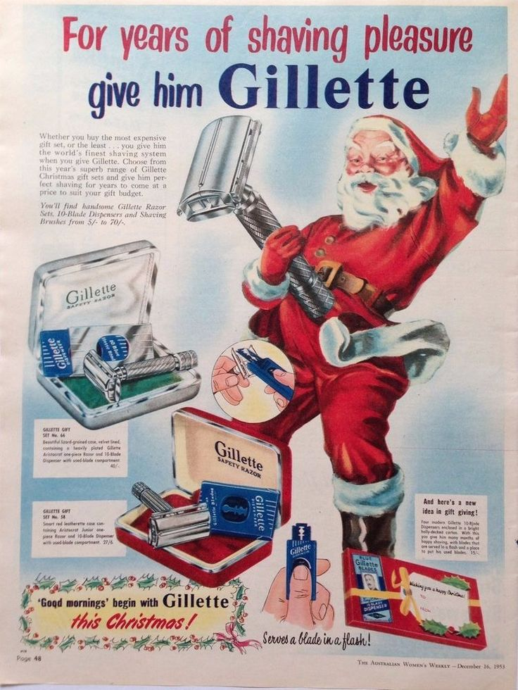 GILLETTE RETRO RAZOR SHAVING SET AD 1953 original vintage AUSTRALIAN advertising