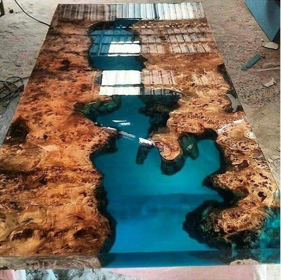 Mazel Epoxidharz Tisch Mit Mazel Epoxid Mobellive Etsy Wood