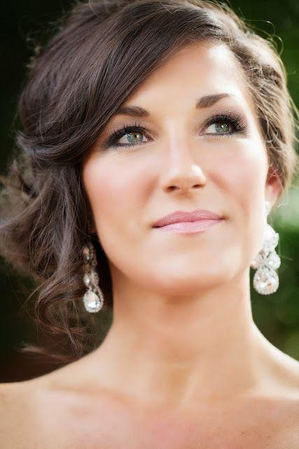 wedding hair loose updo bridal makeup wedding earrings by Haute Bride