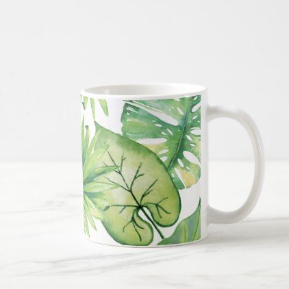 tropical leaves coffee mug - home gifts ideas decor special unique custom individual customized individualized