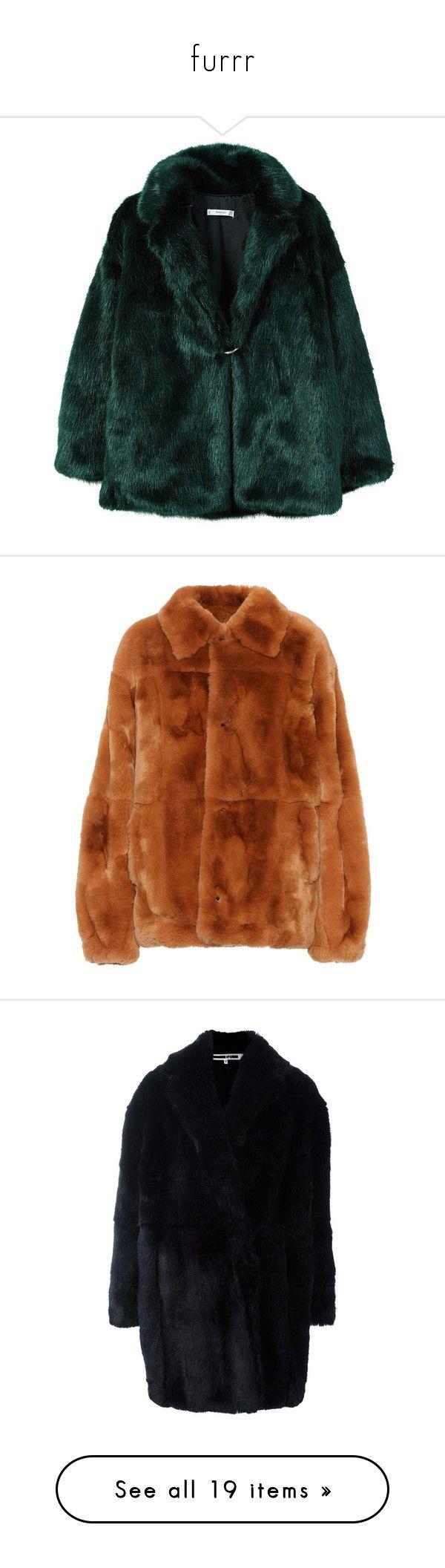 """furrr"" by getrygeya ❤ liked on Polyvore featuring outerwear, coats, jackets, tops, fur jackets, faux fur coat, fur-lined coats, emerald green coat, mango coats and green faux fur coat"